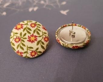 Fabric Button Studs Retro Floral