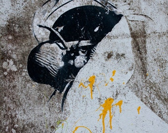 Abstract Figure Graffiti, black, gray, gold, orange, head, photograph