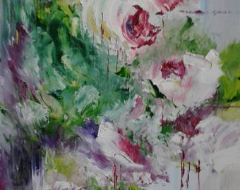 Painted old Roses has oil knife on canvas