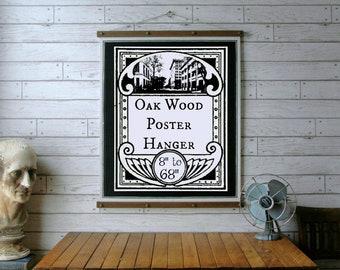 "Wood Poster Hanger 8"" to 68"" /  Wooden Art Hanger / Poster Print Frame / Pull Down Chart / Art Print Frame / Quilt and Textile Hanger"