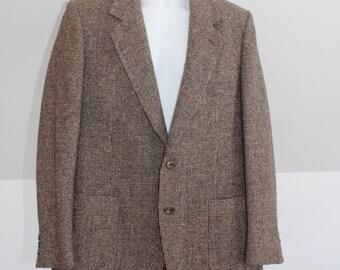Gray tweed jacket, mens tweed, wool jacket, size 42 jacket, wool tweed, men coat, gray coat, grey wool jacket, beige tweed