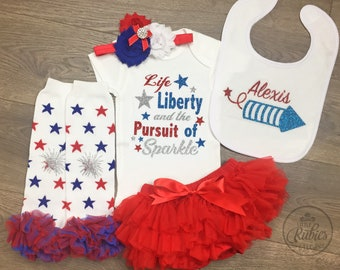 Baby girl 4th of July outfit My first 4th outfit for baby girl First 4th of July outfit baby girl Little Miss America 1st 4th of July outfit