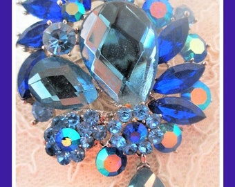 Blue Rhinestone Brooch Silver Tone Prong Set Vintage Jewelry Gift For Her Wedding Christmas