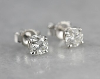 Diamond White Gold Stud Earrings, April Birthstone, Bridal Jewelry X31TTL-N