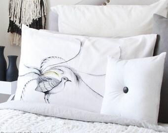 Lyre Bird pillow case, facing right. Australian bird cotton sham, white printed pillowslip. Australian gift with original art by flossy-p