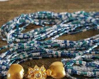 Vintage Seed Bead Multi Strand Necklace