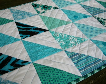Teal Table Runner Turquoise Aqua Quilted Triangles Chevrons Quiltsy Handmade Quilted FREE U.S. Shipping