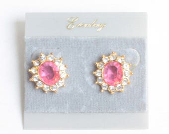 Eisenberg Pink and Clear Rhinestone Earrings Pierced Original Card Faceted Oval Designer