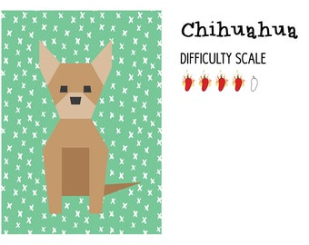 Chihuahua paper pieced quilt pattern in PDF