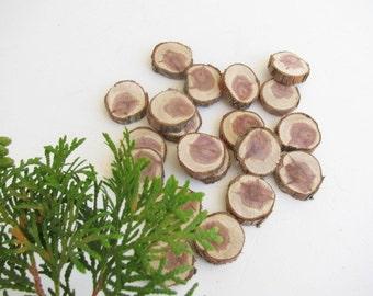 """20 Juniper wood tree branch slices.  Juniper wood craft discs. Rustic wedding decor.1"""" in diameter."""