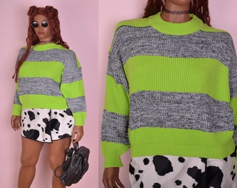 80s Striped Cropped Sweater/ Large/ 1980s