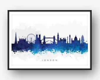 London Skyline, London Cityscape England, Art Print, Wall Art, Watercolor, Watercolour Art Decor [SWLDN06]