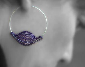 Large hoop earrings , organic earrings , violet earrings , hoops , wire crocheted hoop earrings , purple earrings