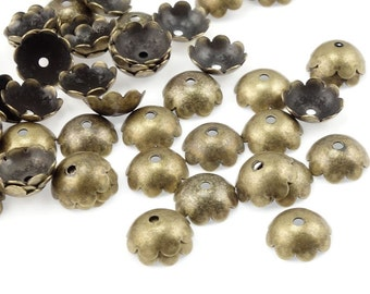 72 Antique Brass Beadcaps 8mm Brass Bead Caps Smooth Polished Dome Bronze Beadcaps - Oxide Brass Ox Brass Findings Jewelry Supplies (FSAB71)