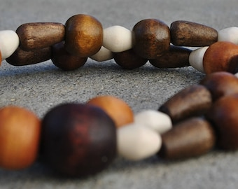 Handmade, wood beads, dark brown, light brown, off white, round and cone shapes