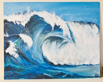 ORIGINAL acrylic painting with waves / marine painting / water and sky