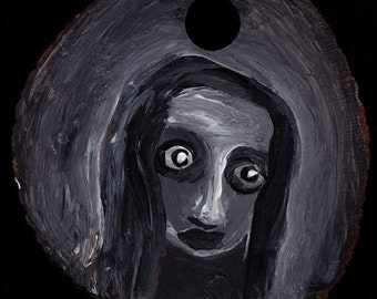 sale---A bad time -original painting on wood OOAK
