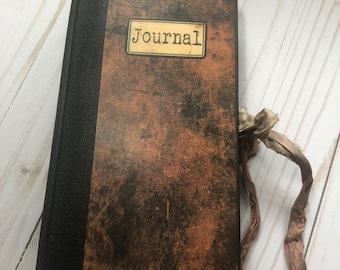 Scholar's ledger junk journal, handmade journals, hardcover journal, vintage ephemera, 110 pages, writing notebook
