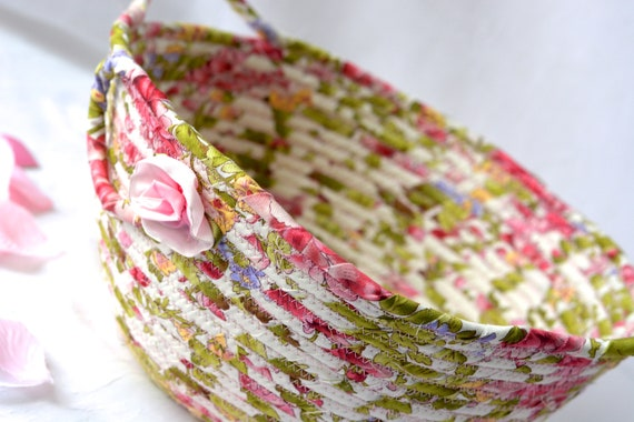 Summer Garden Basket, Handmade Shabby Chic Bowl, Floral Bath Basket, Makeup Organizer, Beautiful Home Decor, Pink handled fabric basket