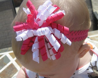 Newborn to 1 Year Shock Pink and White KORKER Hair Bow on a 3/4 inch Shock Pink LACE Headband