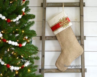 Christmas Burlap Stocking -Red Satin Stripe Stocking - Burlap Stocking, Stocking, Christmas Stocking, Red Stocking