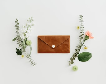 Leather Wallet - Envelope Style - The Penelope - Honey (color variations available)