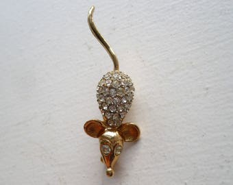Vintage EISENBERG Mouse Brooch Clear Rhinestone Figural Pin Gold Tone Signed E