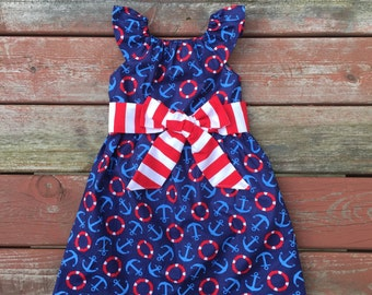 Girls Nautical Anchor Summer Dress Red White Blue with Sash 6 12 18 24 2 3 4 5/6 7/8 9/10 11/12 4th of July Independence Day Dress