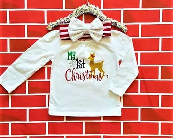 My first Christmas clothes/My 1st Christmas outfit/baby girl clothes/christmas headband/babies 1st Christmas/custom baby clothes
