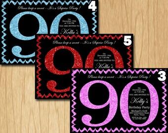 90th Birthday Invitation Pink Red Purple Blue Green Glitter Birthday Party Invite Adult Elegant Surprise Birthday Printable Digital ADBB90