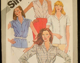 5172 Simplicity Size 10 Bust 32 1/2 Ladies Womens Shirt Vintage 1981 Pattern