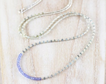 Tanzanite, Moss Aquamarine & Sterling Silver Necklace. Tiny Seed Bead Wrap Bracelet. Gemstone  Beaded Layering Jewelry. Womans Boho Necklace