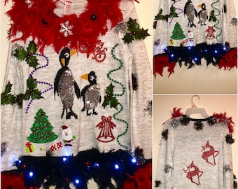 Ugly tacky Christmas Sweater Penguins Galore With Red Boas and Lights and lots and Lots of trinkets (Award Winner) Sizes M & S/CH