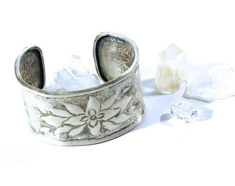Sterling Silver Cuff Bracelet Hand Forged Old School Art Chasing Lotus Design