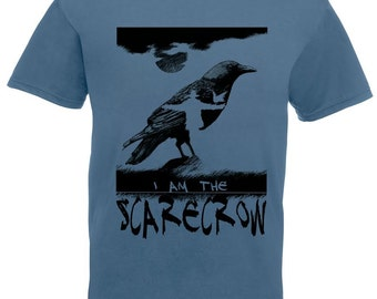 Scarecrow shirt, Crow tshirt, raven tee shirt, steel blue mens t shirts. Hand printed tees. Men tshirt. Counting Crows gift for guy. Music