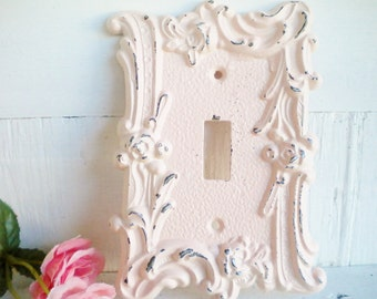 Shabby Vintage Pink Light Switch Cover/1 Way Light Switchplate Single Toggle/Repurposed Vintage Metal Shabby Pink/Wall Decor/Shabby Beach