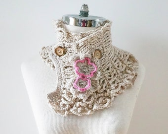 Wild Rose scarf, one of a kind, rose scarf, READY to SHIP, Ivory pink scarf with rose accents, merino wool, silk, crochet scarf