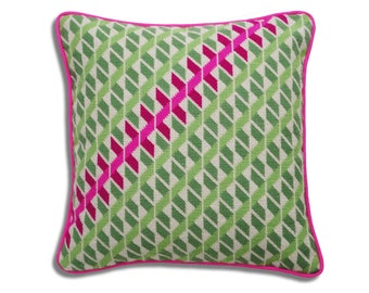 Geometric Twists contemporary needlepoint kit, green and pink colourway