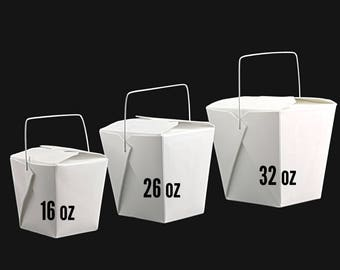 10 White Take Out Boxes  32 oz - Noodle Box - Chinese Take Out Boxes with wire handle - Take out container - Food packaging