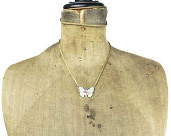 Vintage Butterfly Necklace, Enamel Butterfly Necklace, Gold Butterfly Necklace, Gold Butterfly Pendant