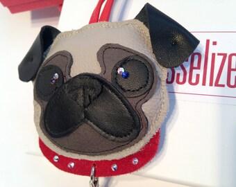 Fawn Pug Charm, Fawn Pug Handbag Charm or Pug Keychain Charm