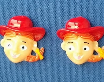 2 TOY STORY JESSIE Head Resin Flatback Cabochons Embellishments for Scrapbooking & Hair Bows