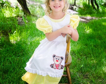 Cute Little Goldilocks Costume dress Yellow gingham, three bears, fairytale, nursery rhyme, story book, halloween, dress-up, pretend play,