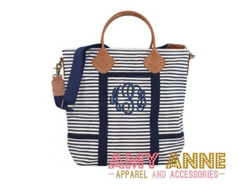 Monogrammed Navy Stripe Canvas Flight Bag Duffle Bag Navy Trim with Leather Handles
