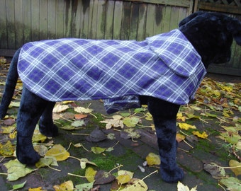 Purple Grey and White Plaid Dog Coat- Size Large - Over 20 Inch Back Length