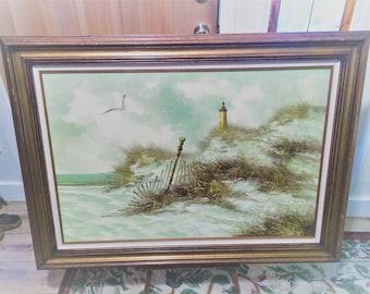 Vintage Raymond Light House Seagulls Seascape Wooden Framed Painting (36x24)