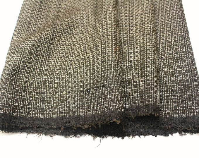 Antique Ooshima Tsumugi Ikat Silk. Japanese Vintage Artisan Fabric. Hand Loomed Textile. Botanical Dye. Brown. (Ref: 1559)