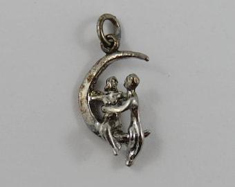 Lover's Sitting on a Crescent Moon Sterling Silver Vintage Charm For Bracelet or Necklace