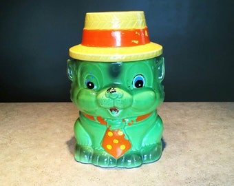 Vintage Cookie Jar, Dog with a Pokadot Tie and Straw Hat, Vintage Japan Container
