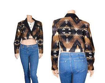 Medium Rodeo Shirt // Black & Tan Western 90s Crop Top // A90